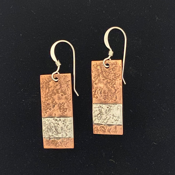 Sterling Silver and Copper Textured Combination Rectangle Earrings