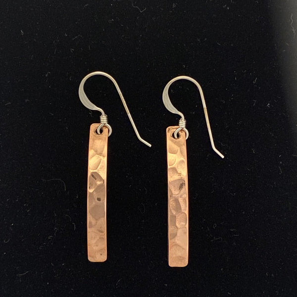 Copper Earrings, Hammered Narrow Rectangle