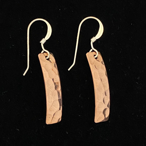 Copper Earrings, Hammered Rectangle