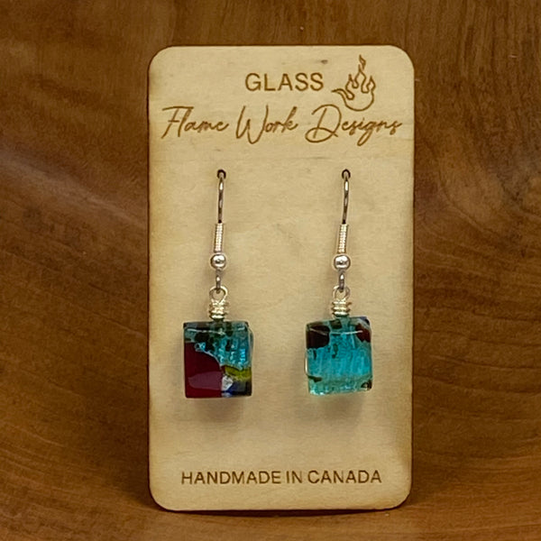 Dichroic Glass Drop Earrings with Colorful Designs, Mosaic Teal/Red