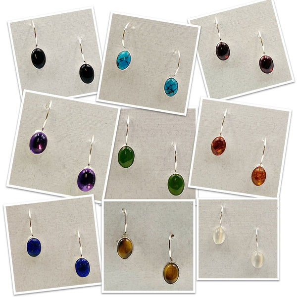 Cabochon Small Oval Gemstone and Sterling Silver Drop Earrings