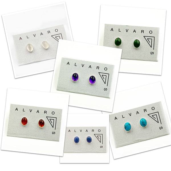 Cabochon Small Oval Gemstone and Sterling Silver Stud Earrings