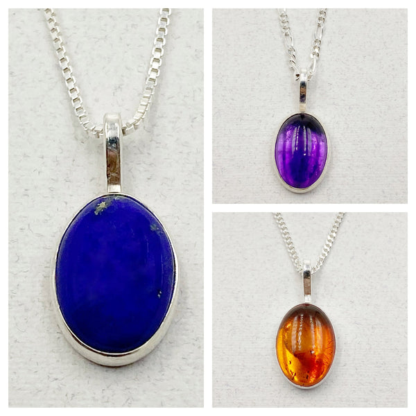 Cabochon Medium Oval Gemstone and Sterling Silver Pendant Necklace