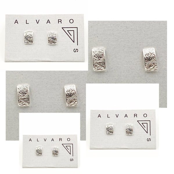 Sterling Silver Reticulated Rectangular Stud Earrings
