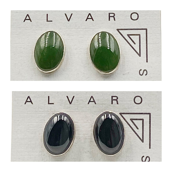 Cabochon Large Oval Gemstone and Sterling Silver Stud Earrings