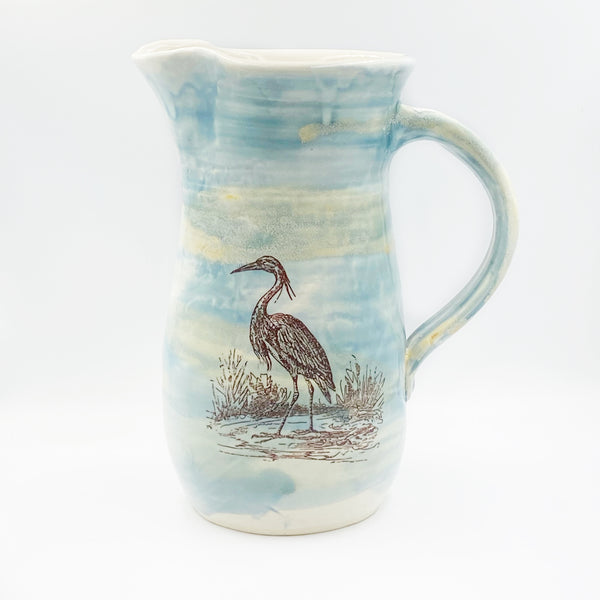Ceramic Jugs by Wendy Squirrell Pottery, Ocean Shores Blue Heron