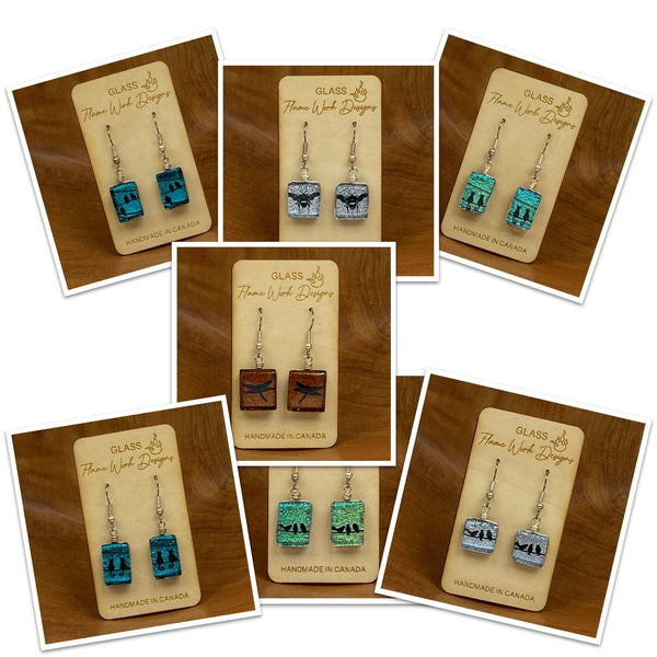 Dichroic Glass Drop Earrings with Nature Designs