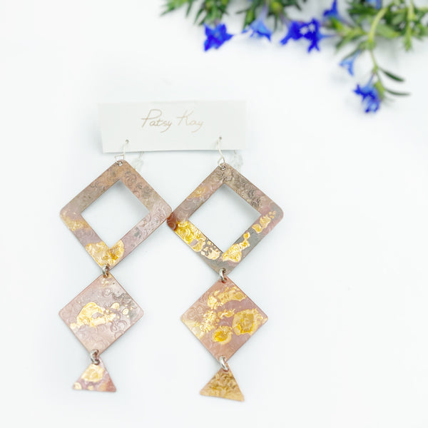 Copper Tower Earrings, 3 1/2 inches