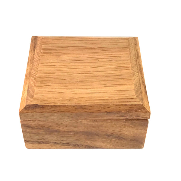 Small Oak Jewellery Box with Red Velvet