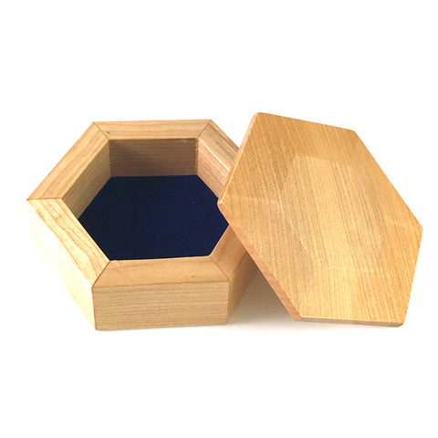 Small Maple Hexagon Jewellery Boxes with Blue Velvet