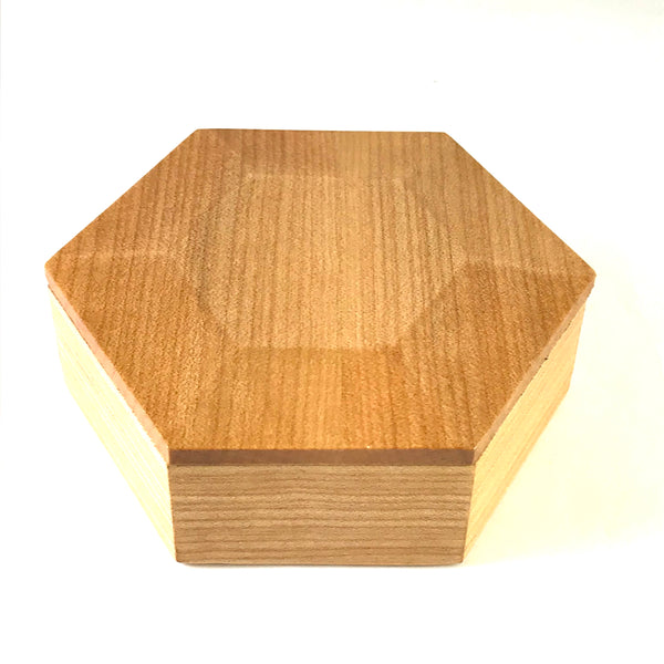 Small Maple Hexagon Jewellery Boxes with Red Velvet