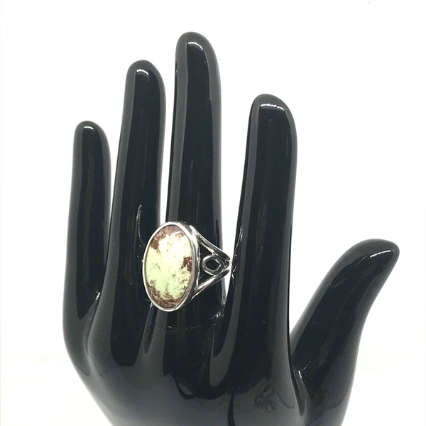Sterling silver ring with Lemon chrysoprase hand cut stone
