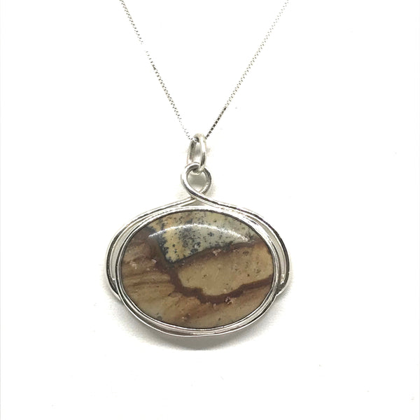Hope Slide Picture Jasper Pendant necklace