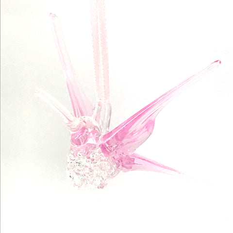 Glass hummingbird with pink wings