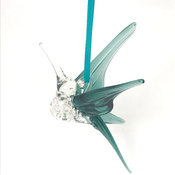 Glass hummingbird with grey teal wings