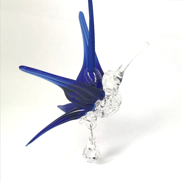 Glass hummingbird with crystal and royal blue wings
