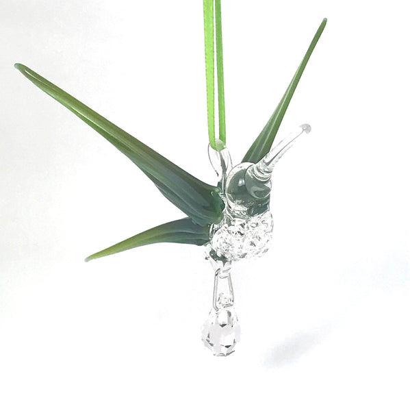 Glass hummingbird with crystal and mossy green/blue wings