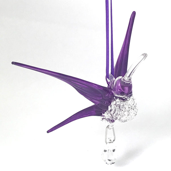 Glass hummingbird with crystal and shiny purple wings