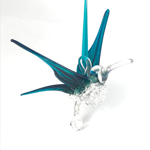 Glass hummingbird with crystal and teal wings
