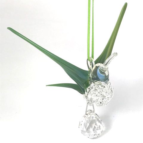 Glass Large hummingbird with crystal and mossy green blue wings