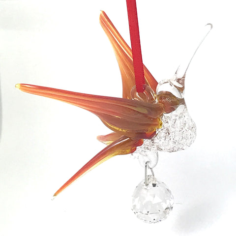Glass Large hummingbird with crystal and orange wings