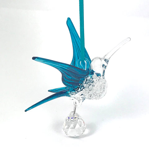 Glass Large hummingbird with crystal and teal wings