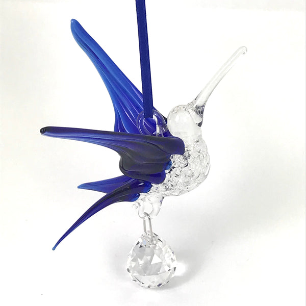 Glass Large hummingbird with crystal and pink wings