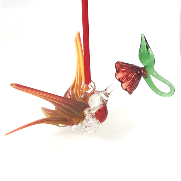 Glass Large hummingbird with flower and orange wings