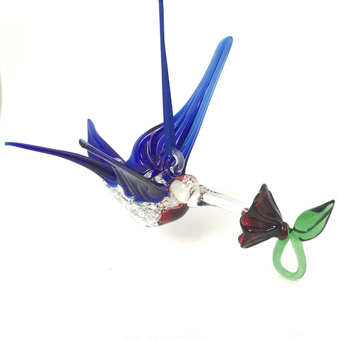 Glass Large hummingbird with flower and royal blue wings