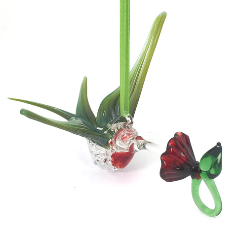 Glass Large hummingbird with flower and mossy green blue wings