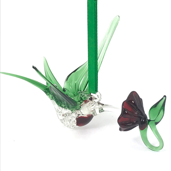 Glass Large hummingbird with flower and green wings, red chest