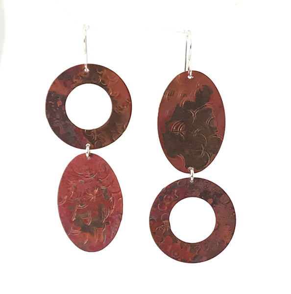 Copper Flips Earrings, 2 1/2 inches - Side Street Studio
