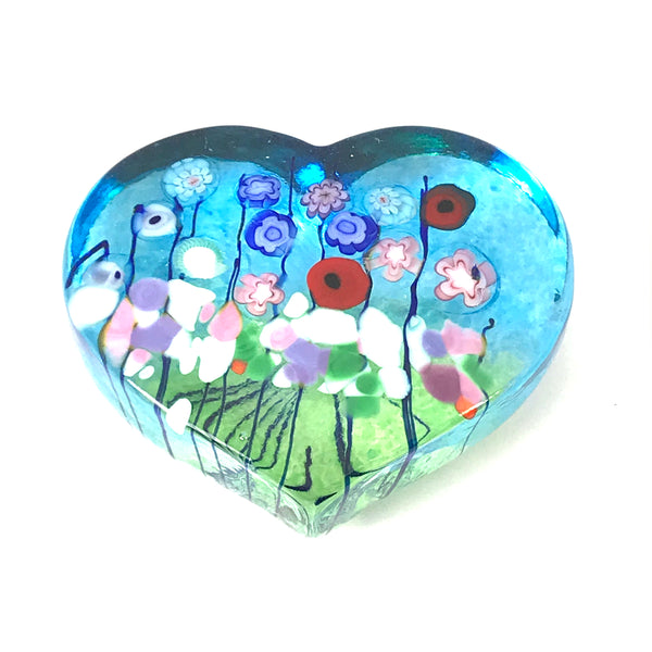 Flower Bouquet glass heart paperweight