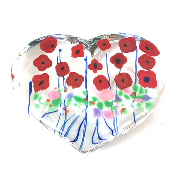 California Poppy clear glass heart paperweight