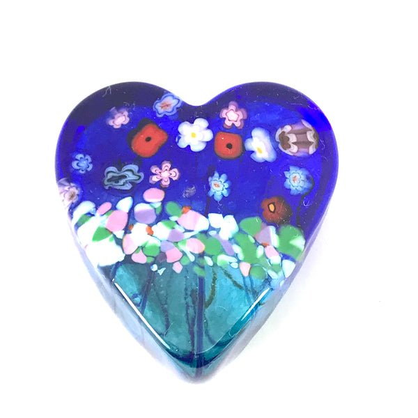 Flower Bouquet small blue glass heart paperweight