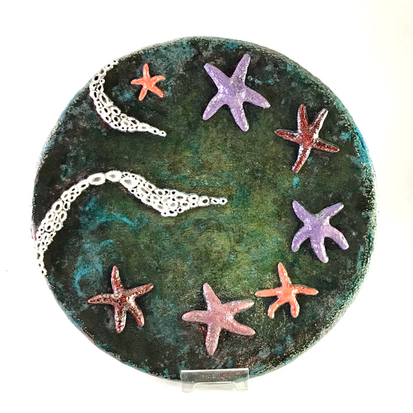 Decorative Tide pool platter with seven sea stars and barnacles