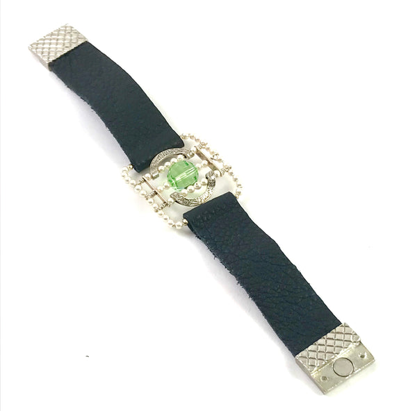 Medieval Collection leather bracelet with Swarovski beads