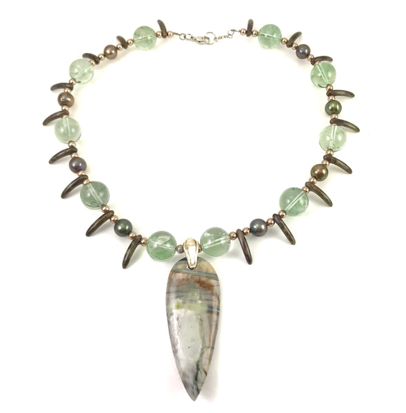 Medieval Collection pendant necklace with Jasper stone and green amethyst