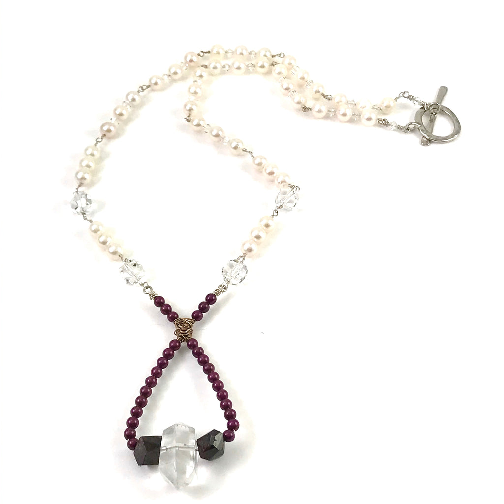 Medieval Collection pendant necklace with Pearl and Crystal hand wrought shape