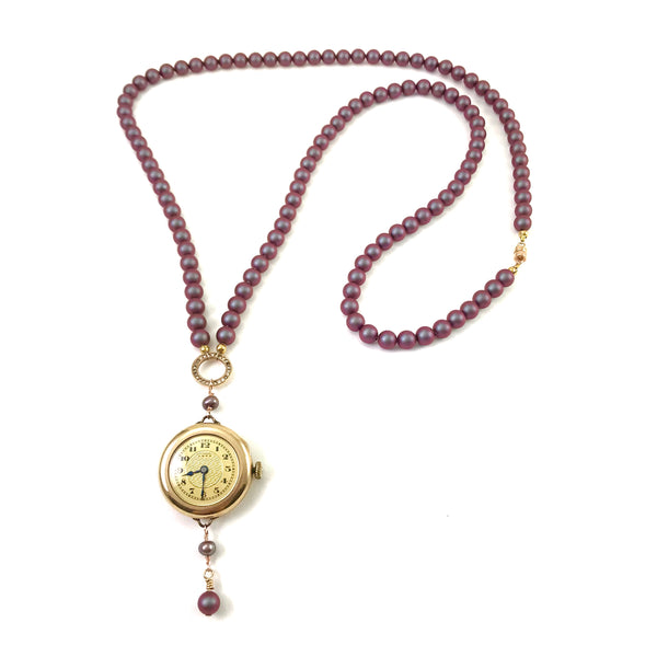 Watch-me Collection pendant necklace with Pocket watch long pendant