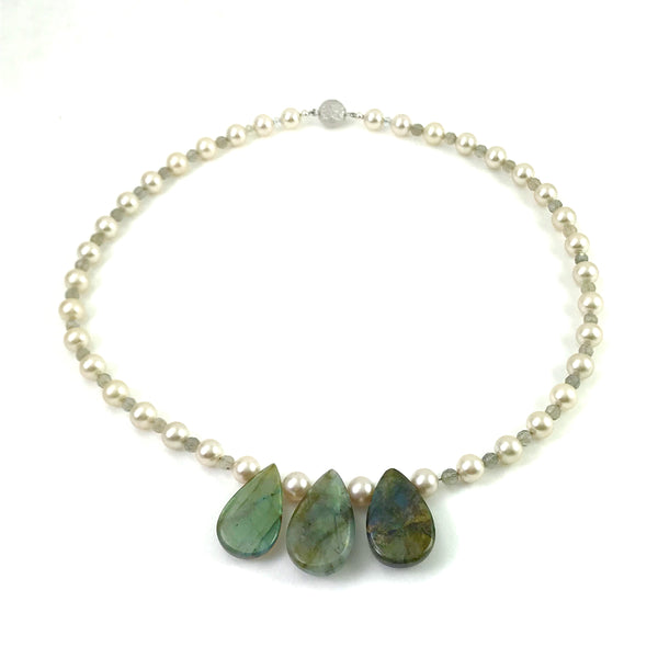 High End Collection pendant necklace with Labradorite & Swarovski pearl set