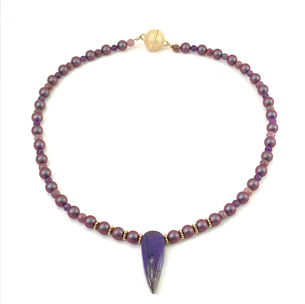 High End Collection Pendant necklace with Bottom drilled Amethyst