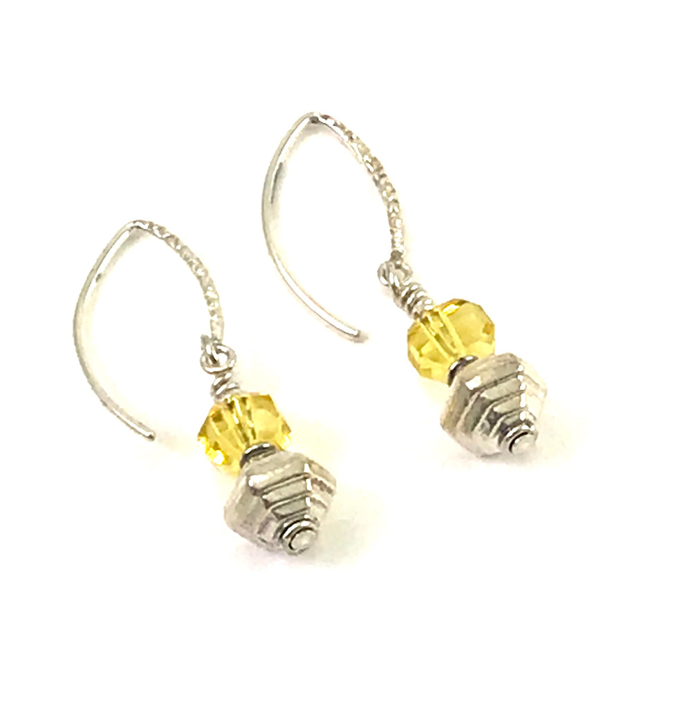 Pearl and Ceramic Collection Companion Citrine and silver earrings