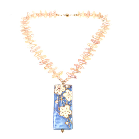 Pearl and Ceramic Collection Blue Flower Pendant necklace