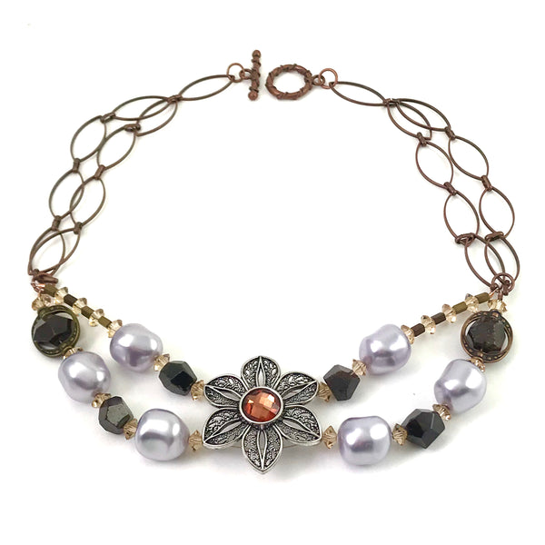 Pearl and Ceramic Collection Baroque pearl and flower choker necklace