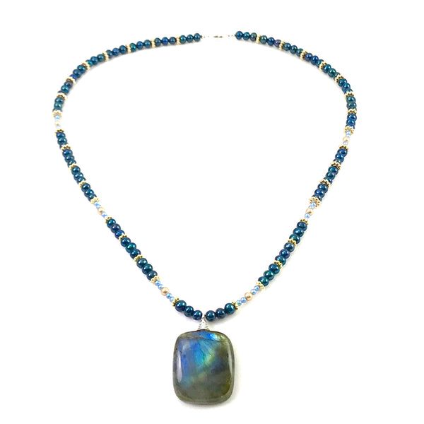 Pearl and Ceramic Collection Labradorite drop necklace