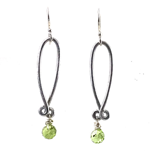 Aluminum loop drops with Peridot bead design earrings