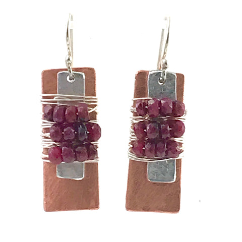 Copper rectangle, sterling silver wrap with ruby design earrings