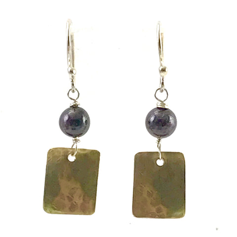 Brass rectangle with Garnet bead design earrings