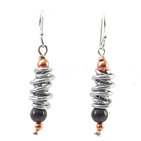 Aluminum spiral with copper & garnet bead design earrings